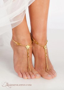 Gold Barefoot Sandals Bridal Foot Jewelry Golden Barmine