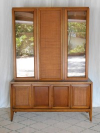 Mid Century Danish Modern Walnut China Cabinet Woven Rattan