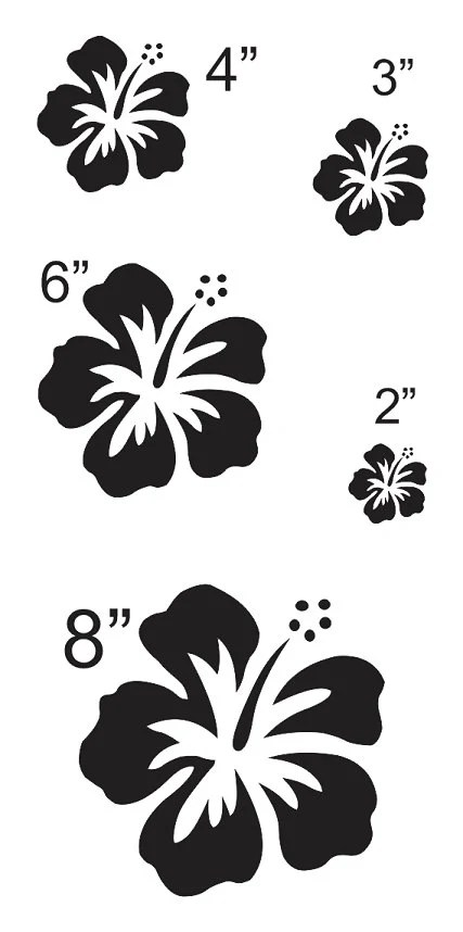 Hibiscus Flower #3 STENCIL sheet with 5 total** Sizes 2