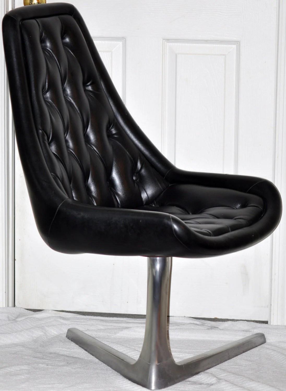 star trek captains chair korum fishing ebay vintage  style black leather tufted