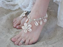 Cowrie Sea Shells with Barefoot Sandal