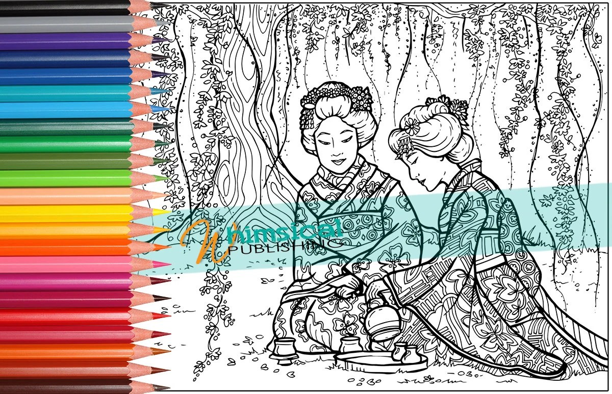 Adult Coloring Pages Japanese Coloring Page By Whimsicalpublishing