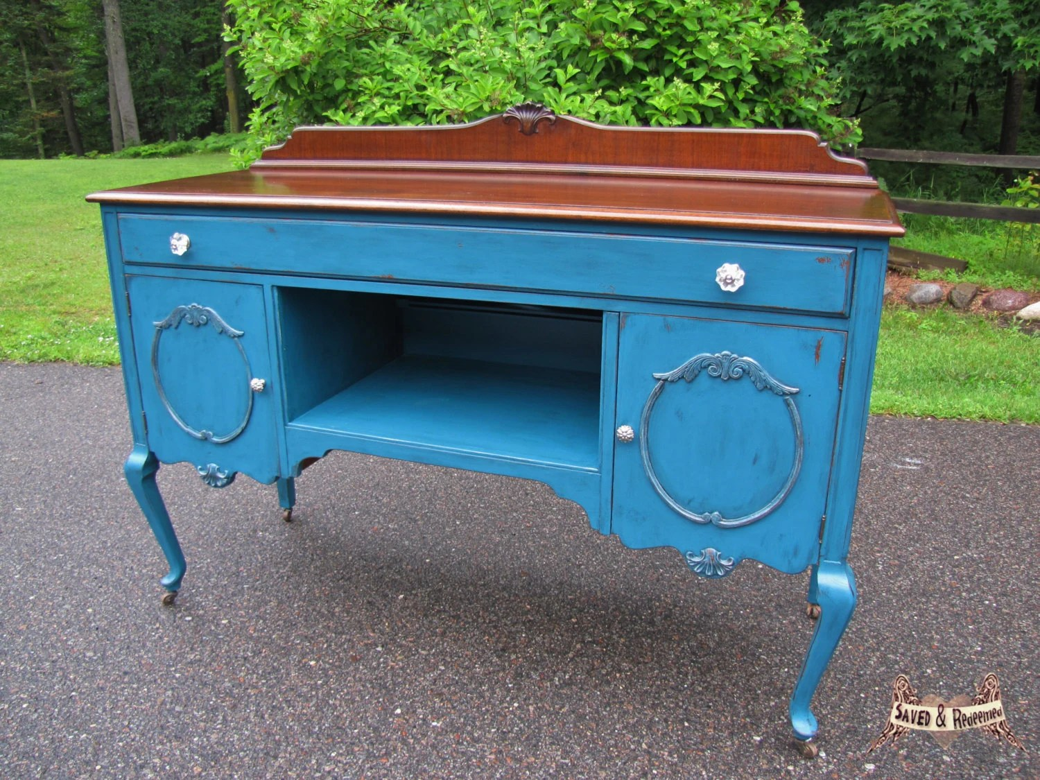 Vintage Buffet/ Sideboard Media Center Painted Wood Top Country . Full resolution‎  photograph, nominally Width 1500 Height 1125 pixels, photograph with #2A78A1.