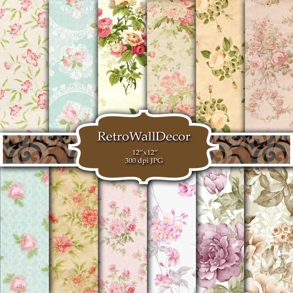 Floral Digital Paper Pack Vintage Backgrounds