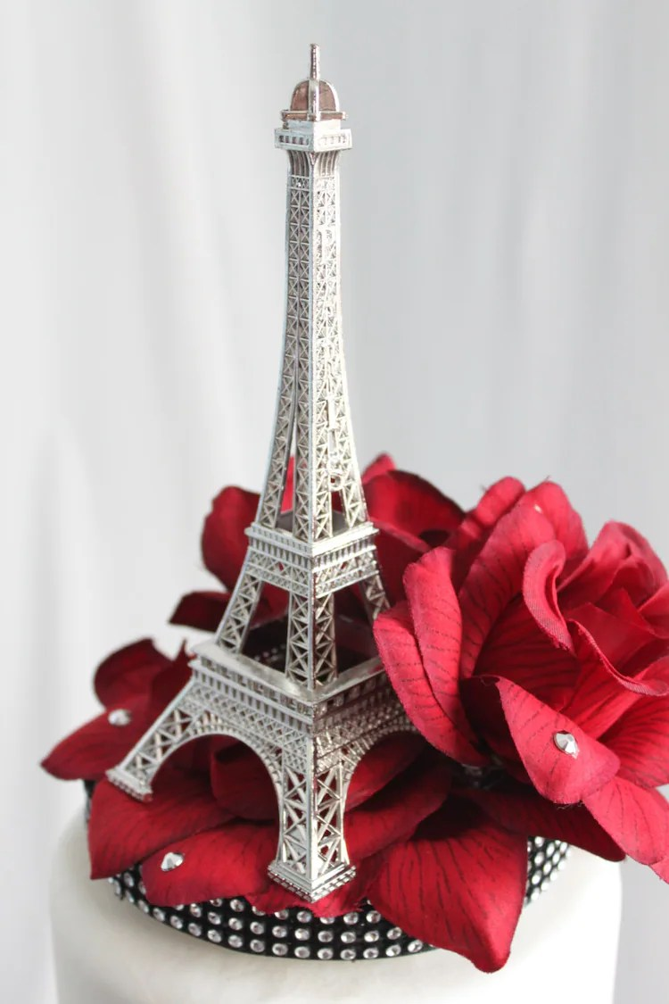 Red Rose and Paris Eiffel Tower Cake by OverTheTopCakeTopper