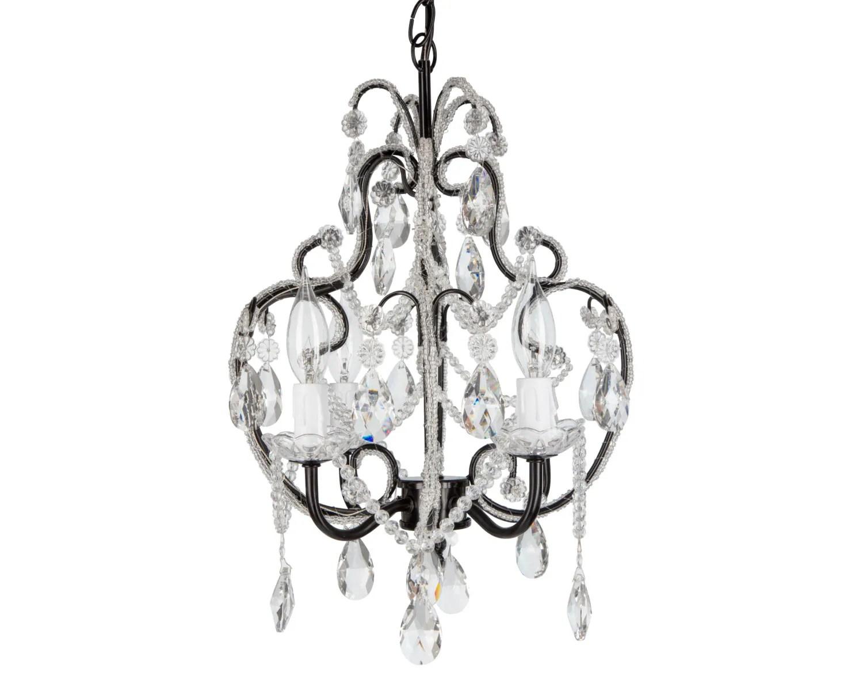 Black Mini Crystal Chandelier 4 Lights Swag By