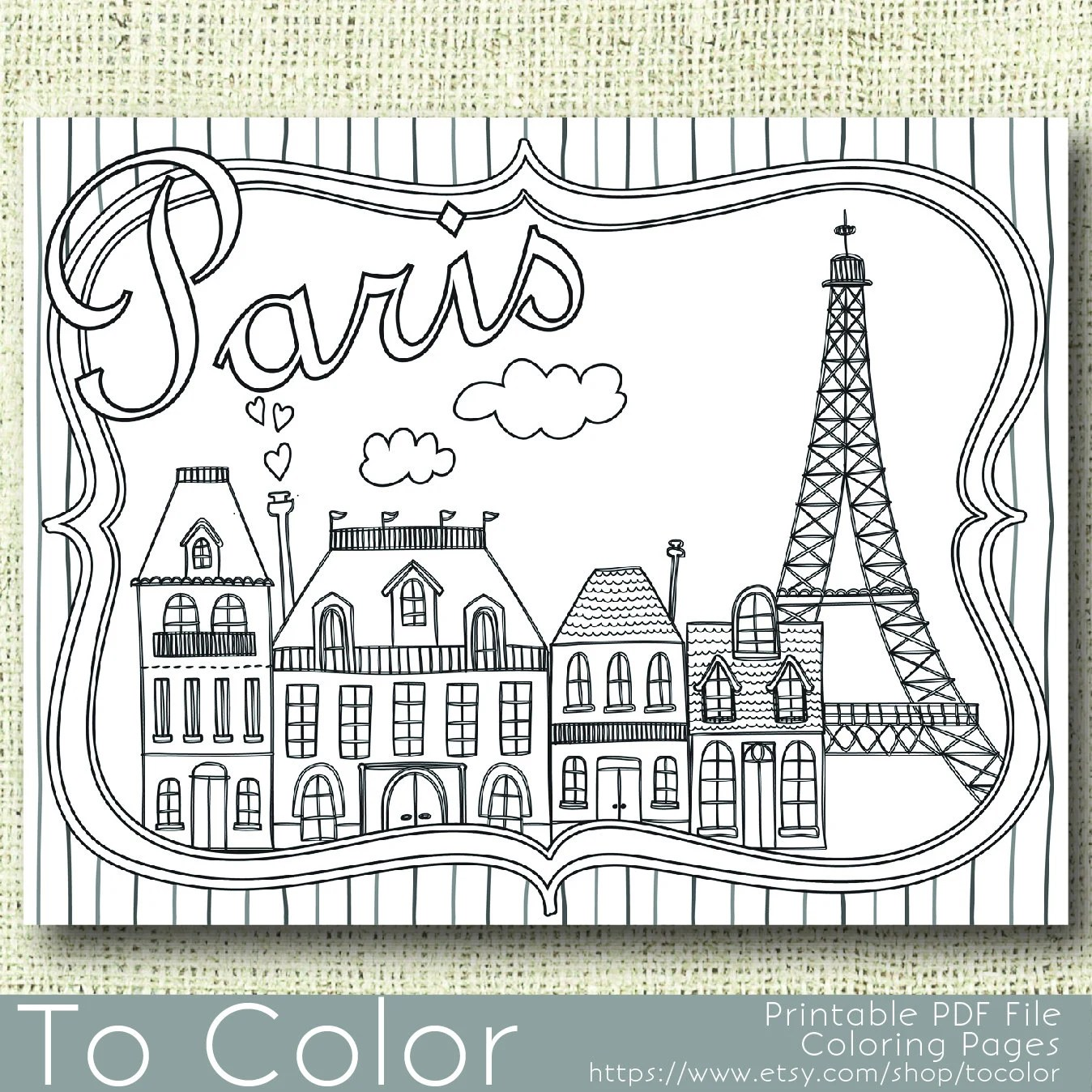 Printable Paris Coloring Page For Adults Instant