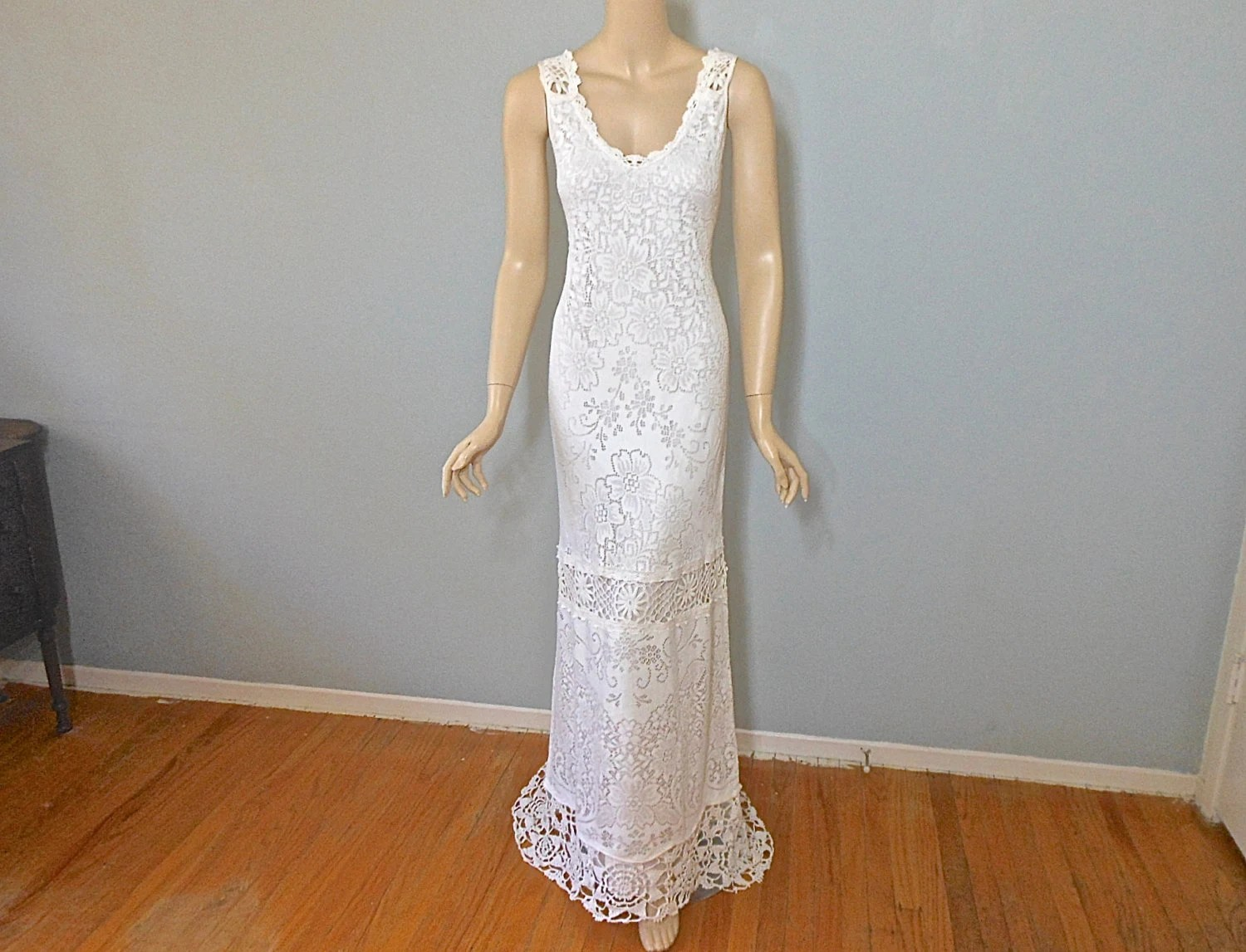 Hippie Boho WEDDING Dress CROCHET Wedding Dress By