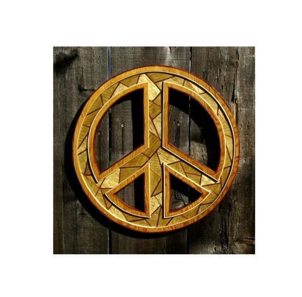 Laminated Wood Peace Sign Wall Hanging