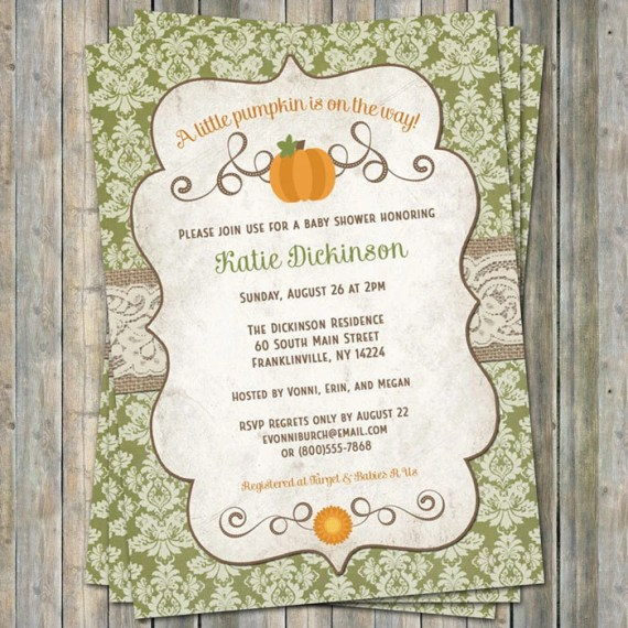 little pumpkin baby shower invitations, baby shower invitation with pumpkins, autumn, fall Digital, Printable file