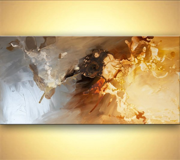 Modern Abstract Art Silver Original Acrylic Painting