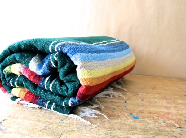 Vintage Wool Striped Mexican Blanket Throw