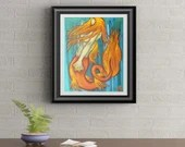 Fire Mermaid Signed Art Print of Signature Original By Rafi Perez