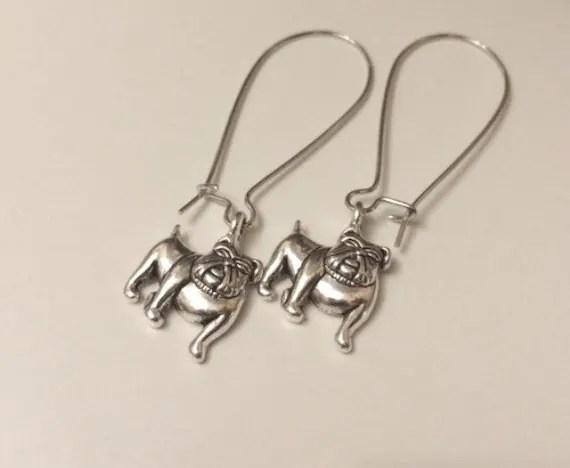 English Bulldog Charm Dangle Earrings bulldog lovers bulldog