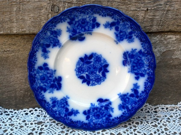 Antique Flow Blue Plate Waldorf Wharf Pottery Semi