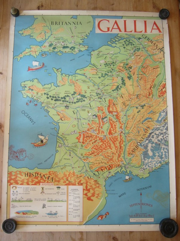 Vintage 1950s Educational Poster Of Roman Gaul Produced
