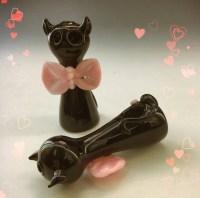 Black Cat Glass Tobacco Pipe H310