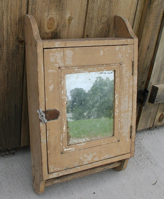 Vintage Wood Medicine Cabinet Hanging Medicine Cabinet