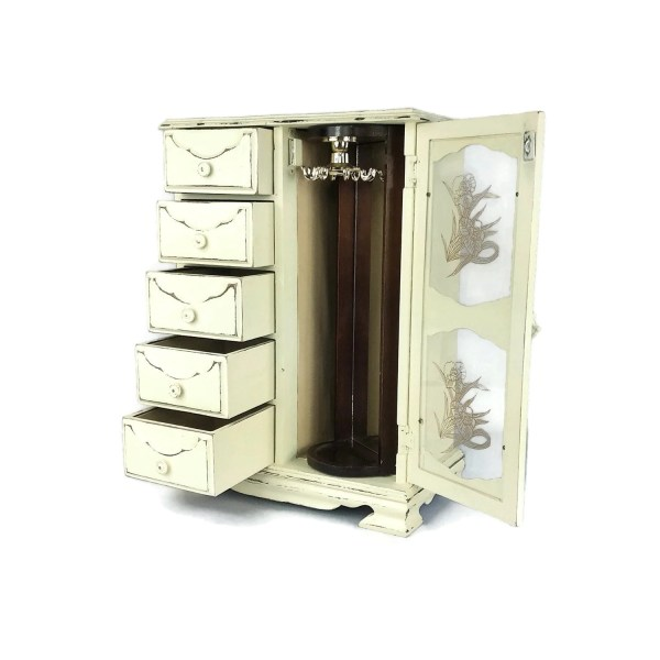 Antique White Armoire Jewelry Box