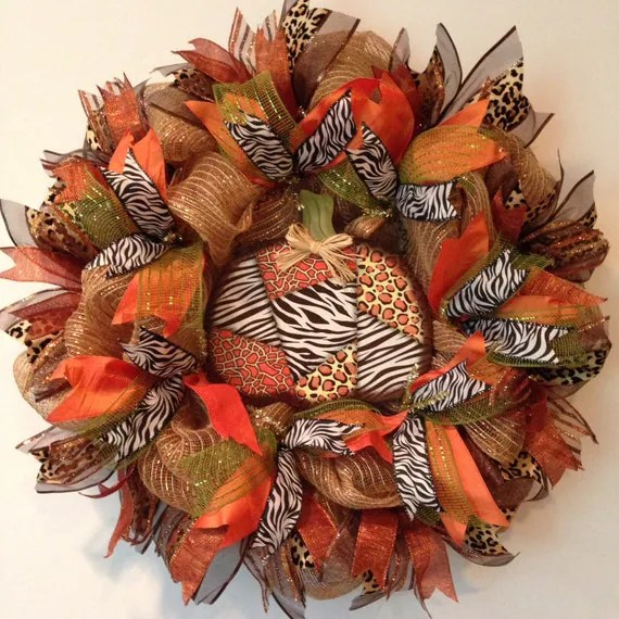 Fall Deco Mesh Wreath Fall Wreath Autumn Mesh Wreath