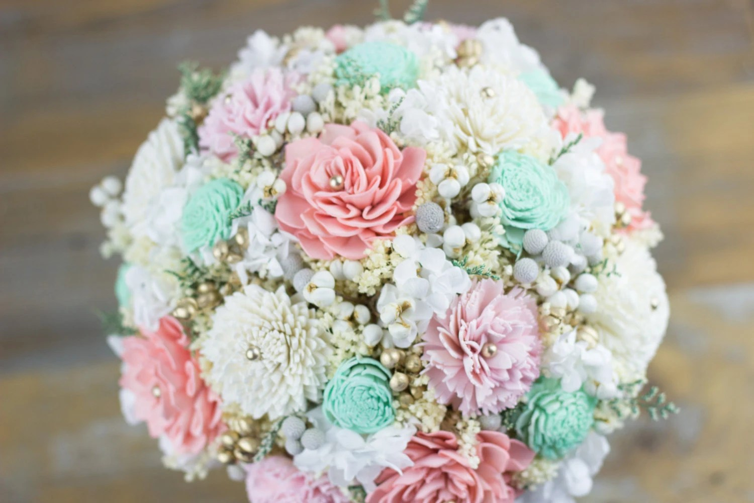 Bridal BouquetWoodland Bridal BouquetPink/Baby Pink/Mint