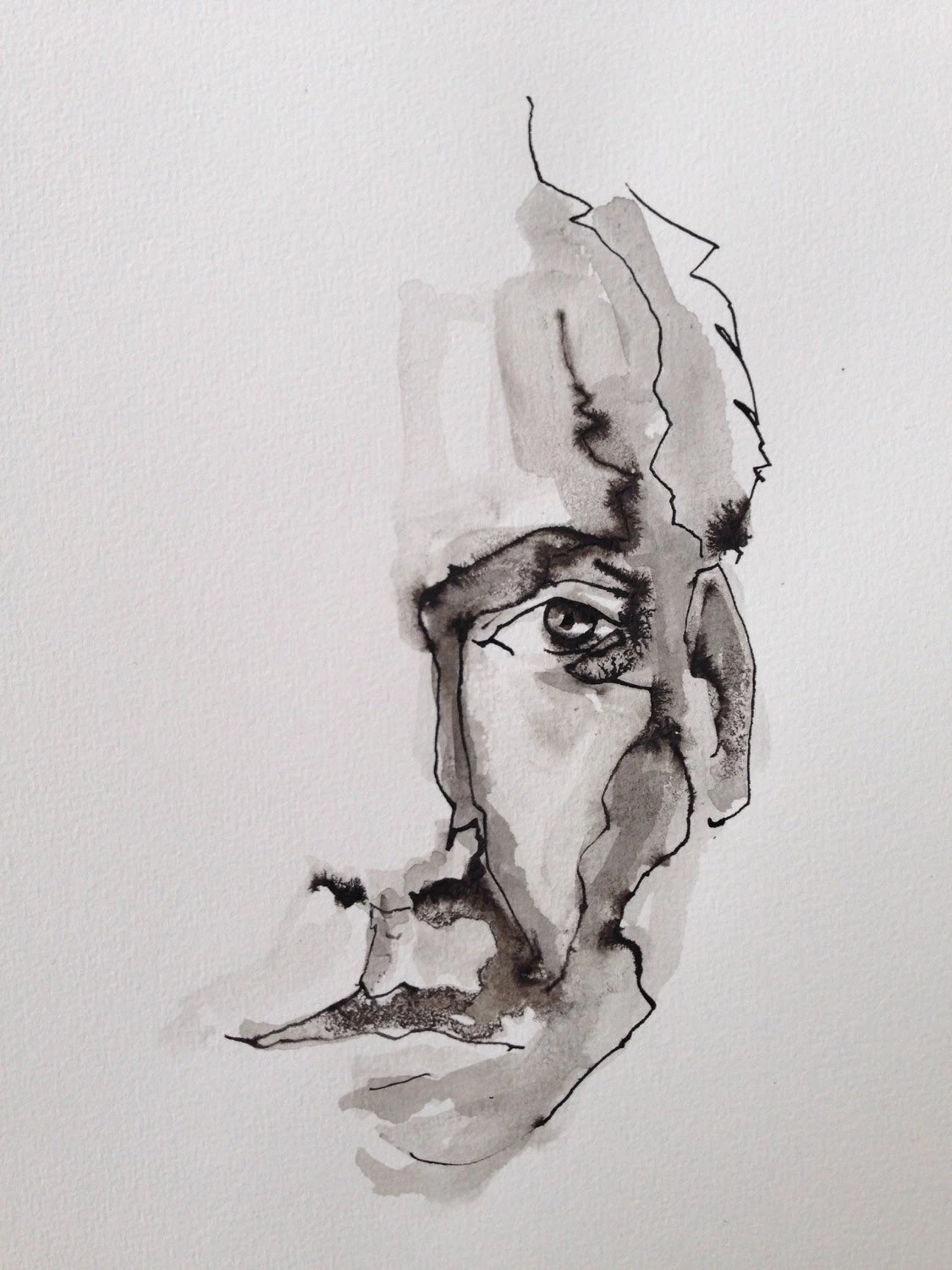 Ink Drawing Watercolor Artfigurative Artmale