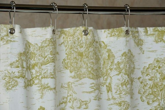 pear green toile shower curtain with grommets made in usa