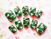 camouflage fake nails camo