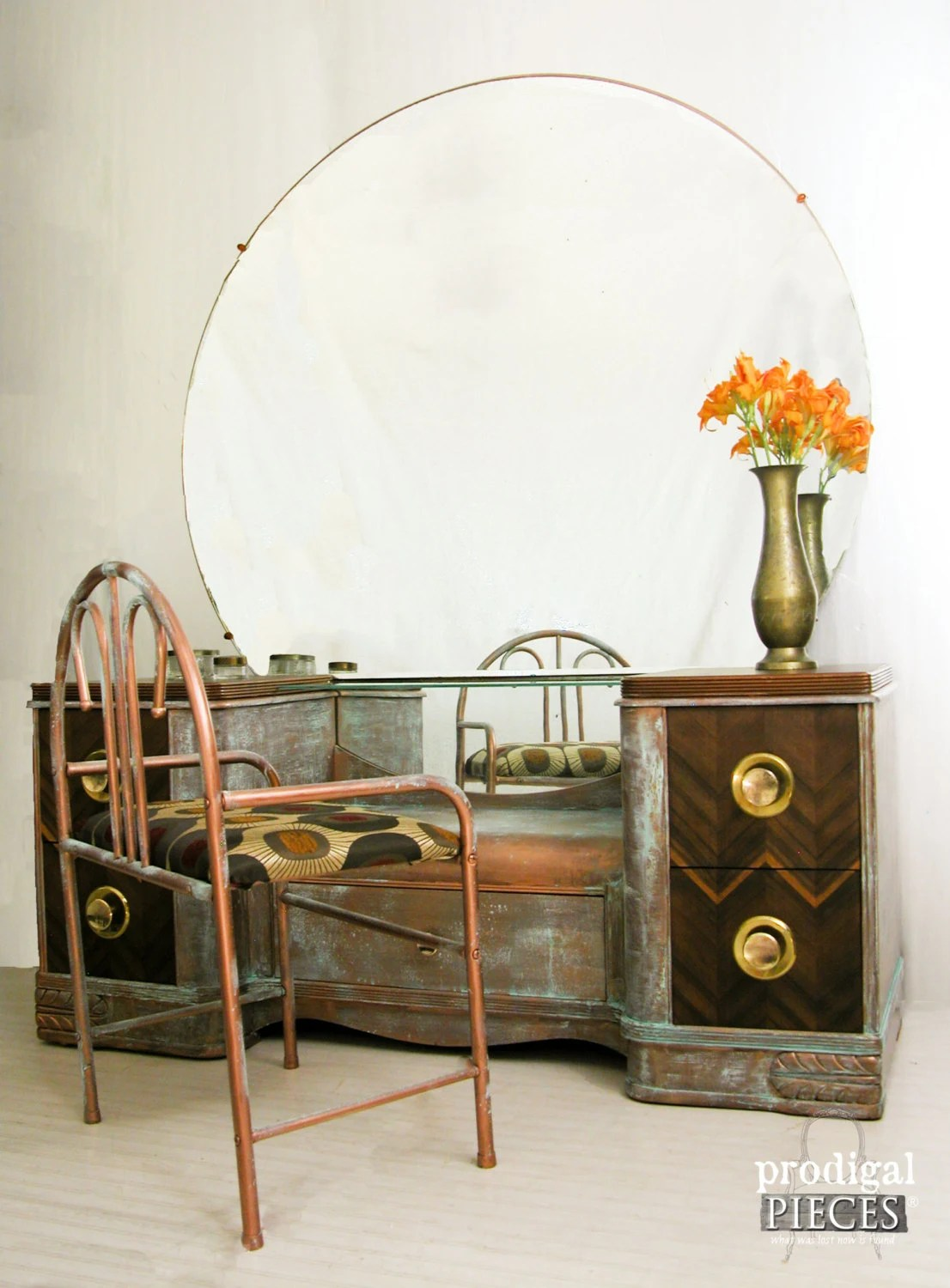 Antique Art Deco Dressing Table Vanity with Chair, Original Brass Pulls, & Extra Large Mirror ...
