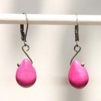 Pink Fuschia Earrings Drop Earrings Dangle earrings Howlite