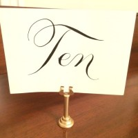 Set of 25 Tall Gold Table Number Holders