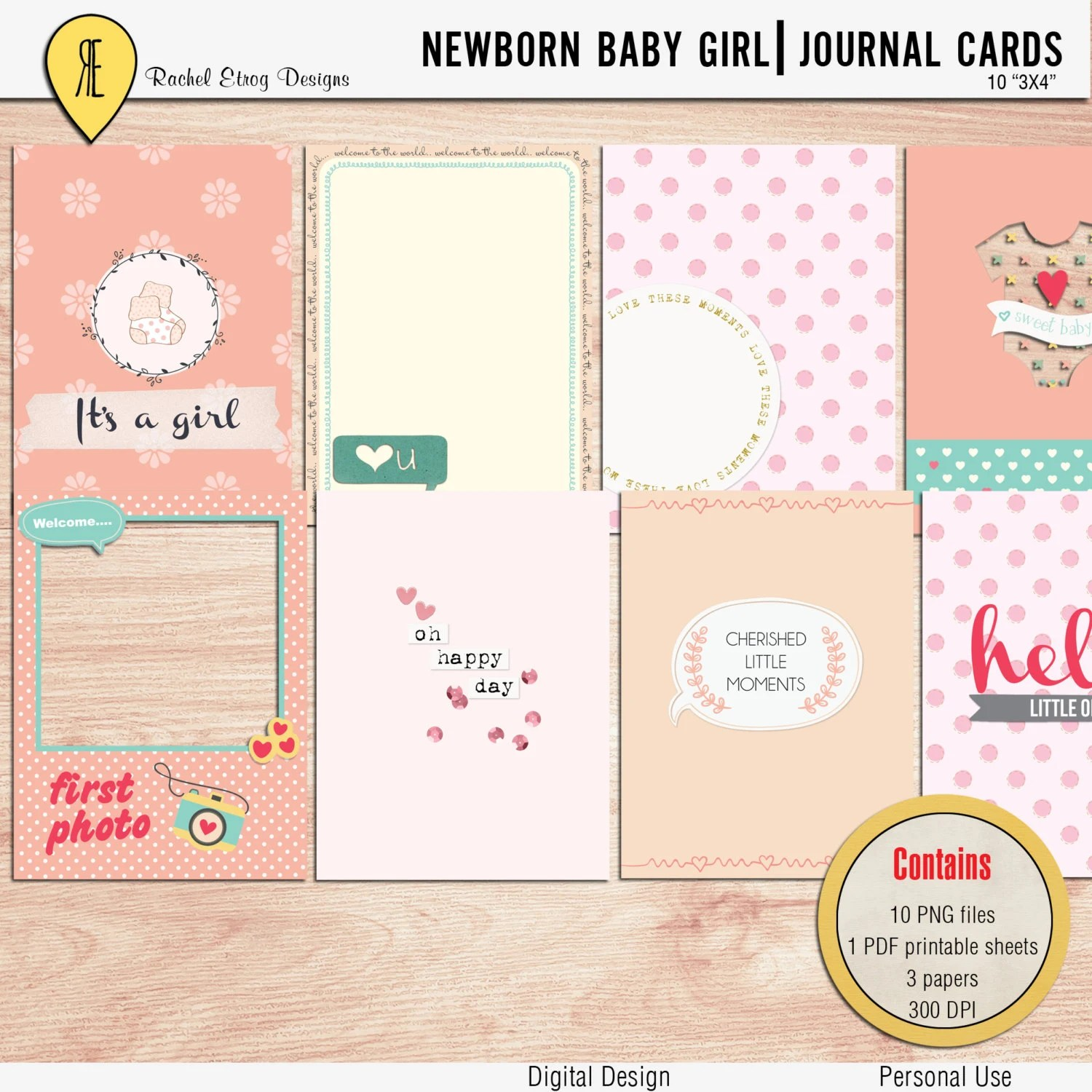 Summer Sale Newborn Baby Girl Journal Cards Instant