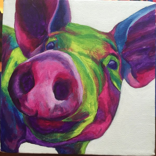 Abstract Pig Painting Square 6x6 Wall Art Small