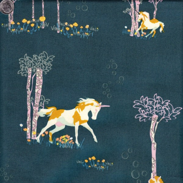 Art Fabrics Fantasia Unicorn Fable Balsamtree - End Of Bolt 21 Inches