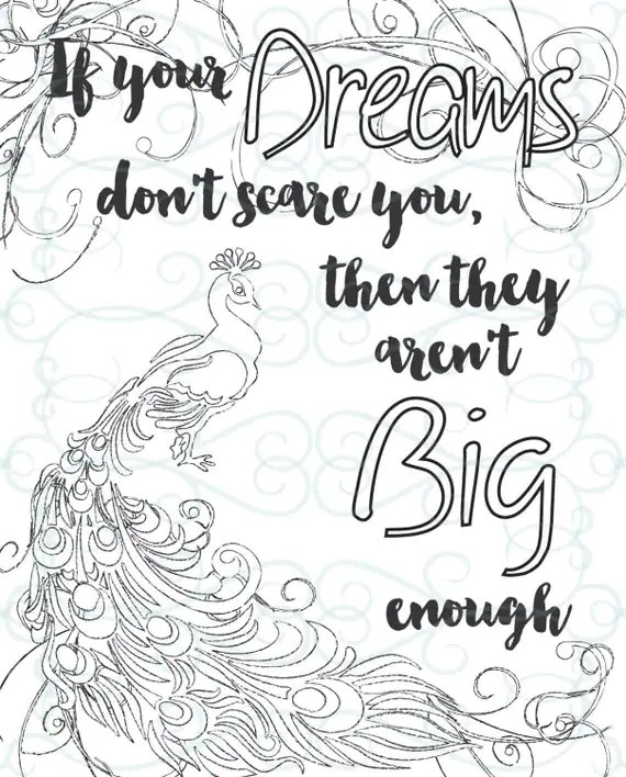 Adult Inspirational Coloring Page printable 05-Dream Big