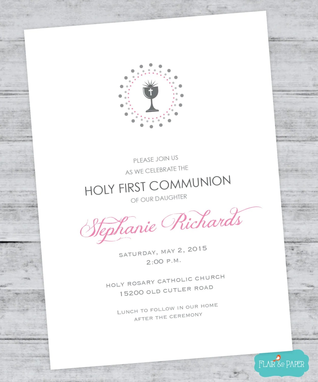 First Communion Invitation Holy First Communion By Flairandpaper