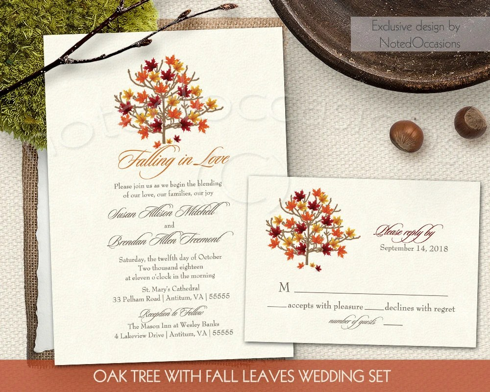 Fall Wedding Invitation Set Autumn Oak Tree by NotedOccasions