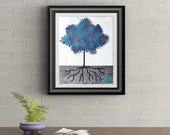 Blue Tuft Tree Signed Art Print of Signature Original By Rafi Perez