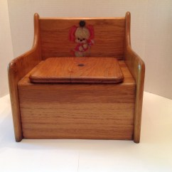 Wooden Potty Training Chair Egg Desk Childs With Puppy Decal Vintage