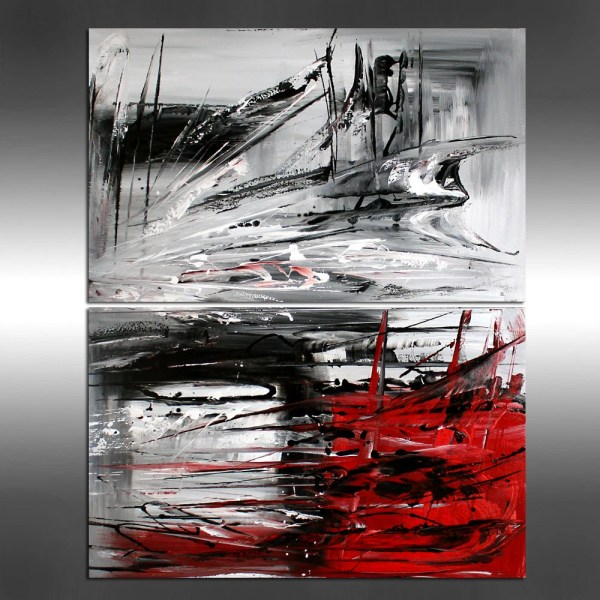 Red Modern Painting Abstract Art Black White