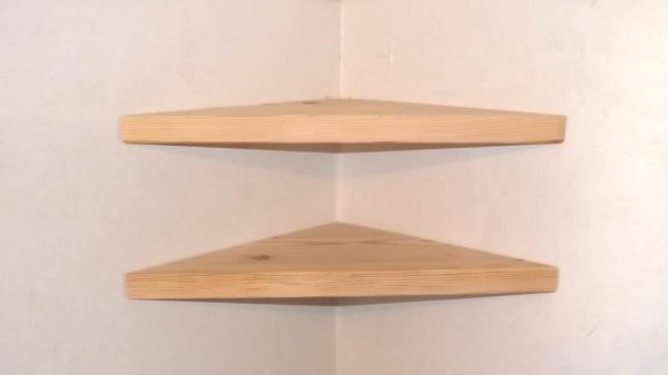 Set Of 2 22 Wide Floating Corner Shelves Unfinished