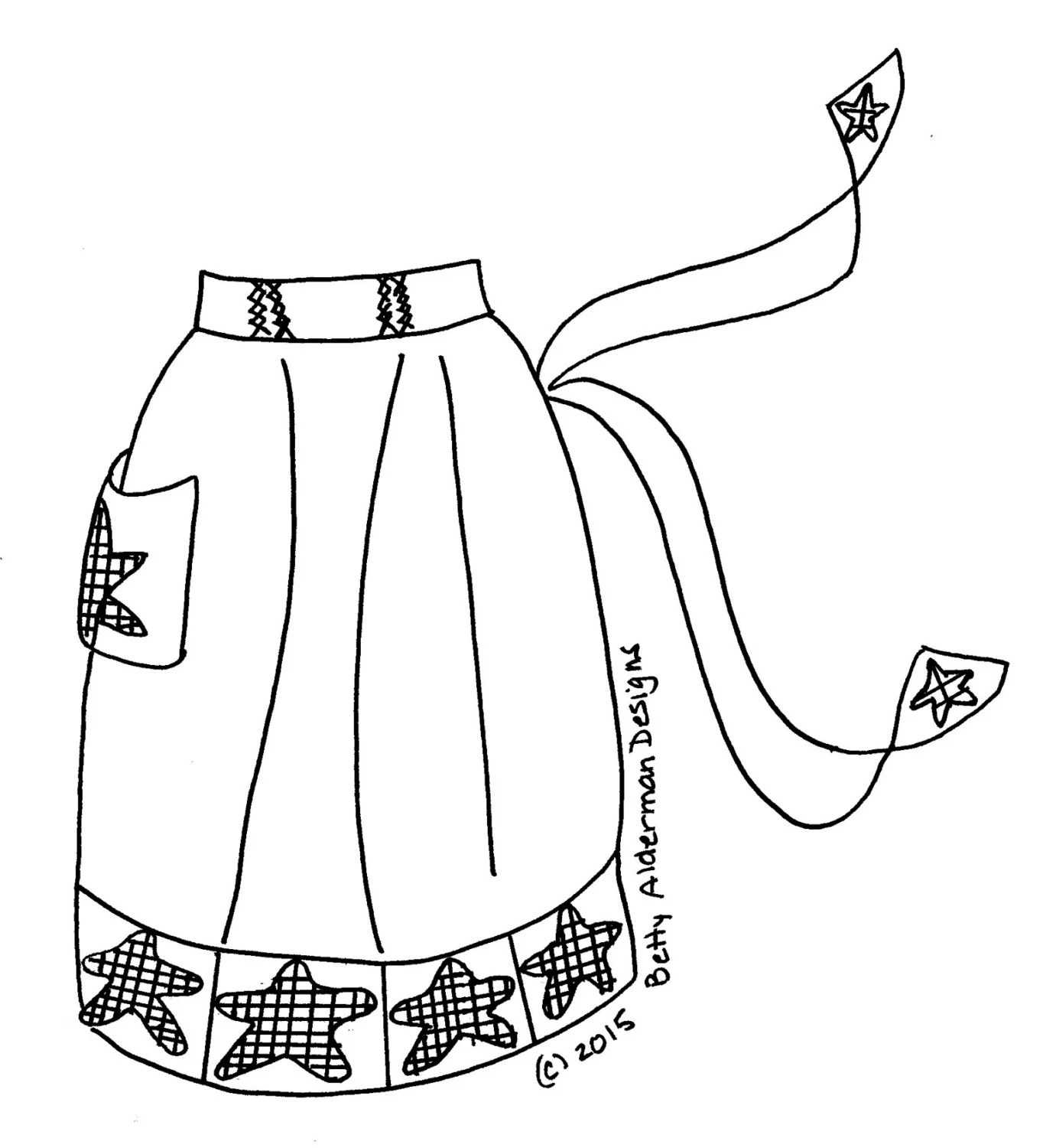 Redwork Bluework Hand Embroidery Pattern, Vintage Apron