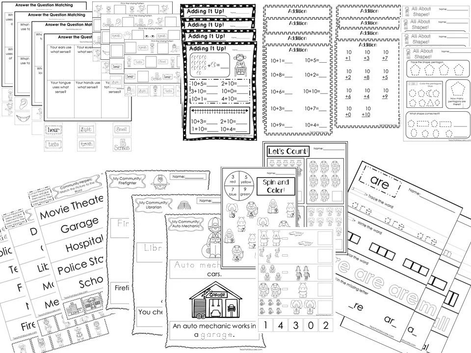 277 Printed daycare and Kinderagrten worksheet pages. Adding