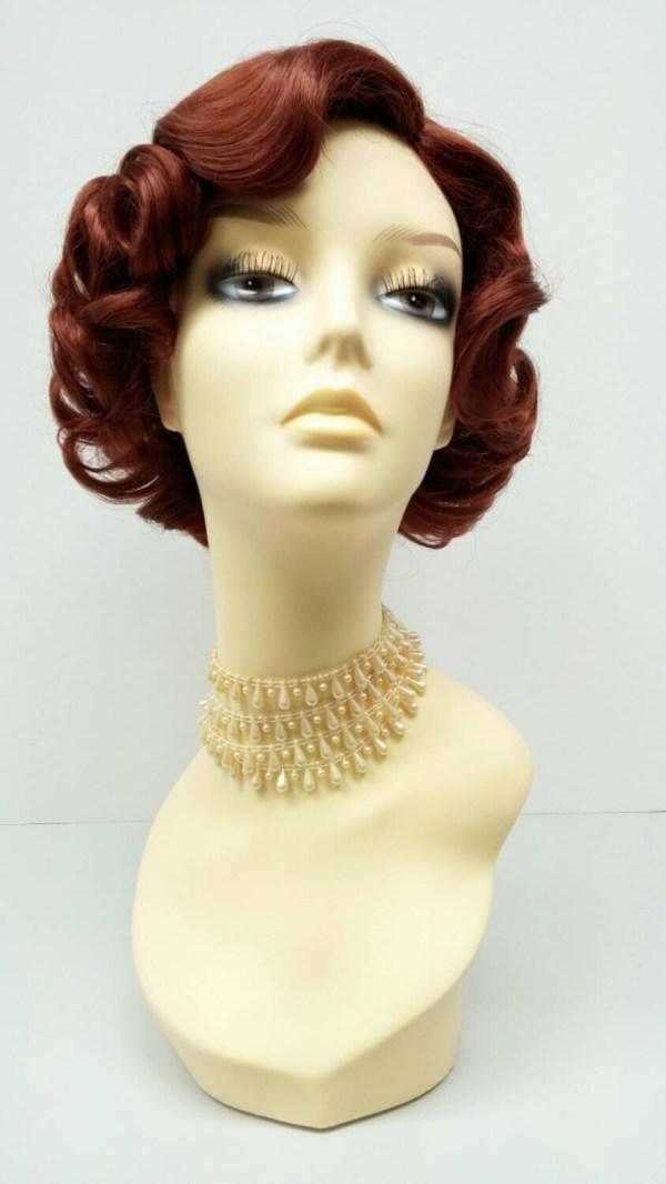 50' Style Short Bright Auburn Costume Wig. Cosplay