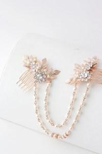 Rose Gold Hair Chain Wedding Headpiece Pearl Draped Bridal