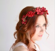 red flower crown boho hair piece