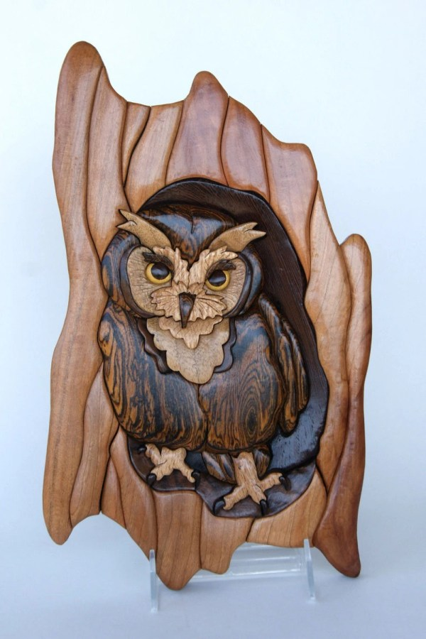Screech Owl Intarsia Wall Hanging Wood Carving Wooden Bird