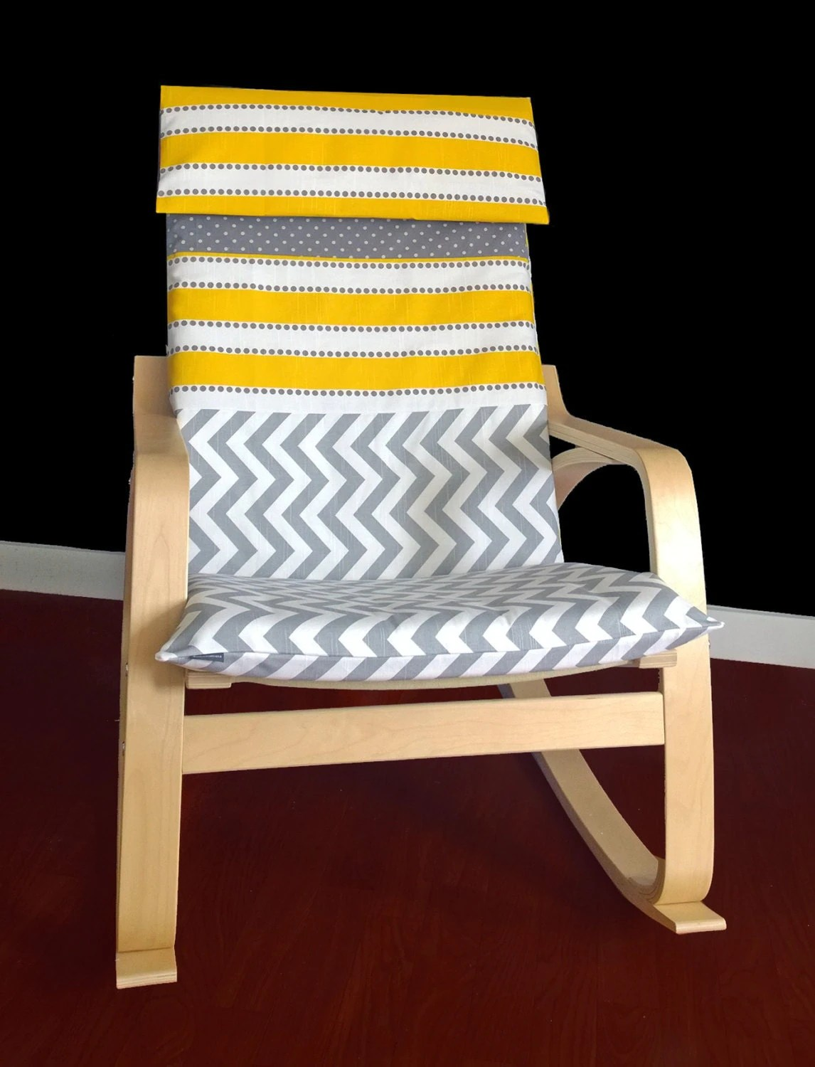 poang chair covers etsy burgundy dining chairs yellow stripe ikea poÄng cover chevron custom slipcover