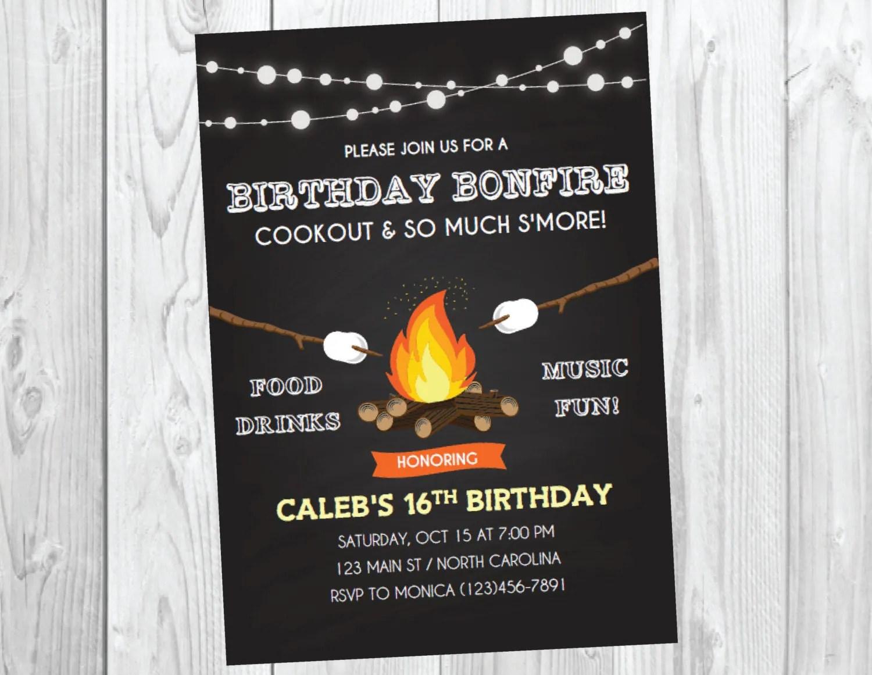 Bonfire Party Invitation  Bonfire Birthday  Fall Birthday
