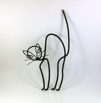 Metal Cat Wall Sculpture Atomic Mid Century Modern by ...